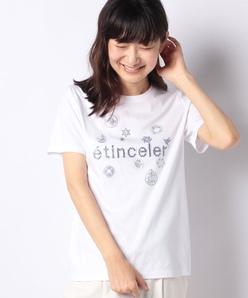 【洗える】スーピマスムース ラインストーンTシャツ
