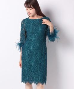 【パーティー】ラッセルレース 袖付ドレス