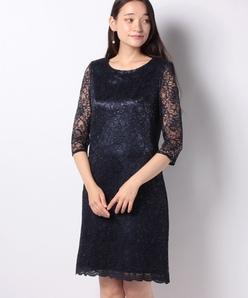 【フォーマル】ラメ入りコードレース ドレス