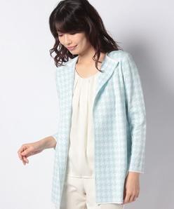 【コーディネート対応】千鳥柄ジャカード編みニットジャケット