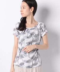 【洗える】オリジナルプリントコットン天竺/パフスリーブTシャツ