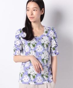 【洗える】オリジナルプリントコットン天竺/袖シャーリングTシャツ
