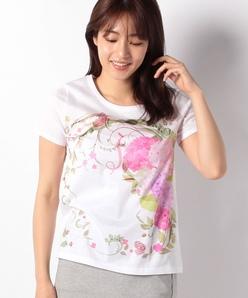 【40周年記念/洗える】フローラルパネルプリントTシャツ/コットン天竺
