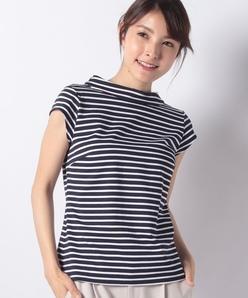 【洗える】ロールカラーTシャツ/コットン天竺ボーダー