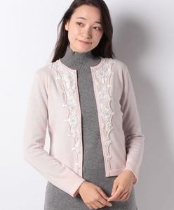 【アンサンブル対応】 カシミヤ混 花柄刺繍ニットカーディガン