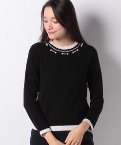 【アンサンブル対応】 カシミヤ混パール刺繍 ニットプルオーバー