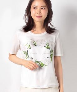 【アンサンブル対応】 ARINA フローラルプリント布帛使い ニットプルオーバー