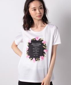 【洗える】 InvitationモチーフプリントTシャツ/コットン天竺