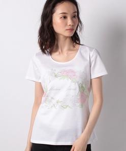 【洗える】 コットン天竺 ボタニカルフラワーロゴプリントTシャツ