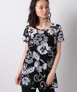 【洗える】ボタニカルフラワー/サラサ柄プリント チュニックTシャツ