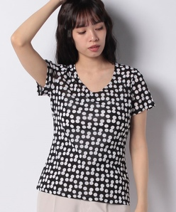 【洗える】変形ドット柄プリントポリエステルメッシュ 半袖Tシャツ