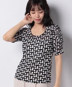 【洗える】シャーリング五分袖Tシャツ/変形ドット柄プリント ポリエステルメッシュ