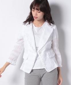 シャーリング刺繍ジャケット
