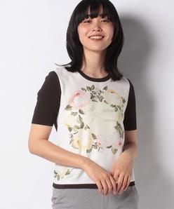 【アンサンブル対応】ANA フラワープリント 布帛使いニットプルオーバー