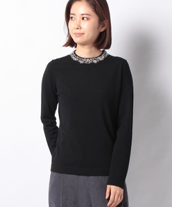 【アンサンブル対応】NADIA ビーズ刺繍 ニットプルオーバー