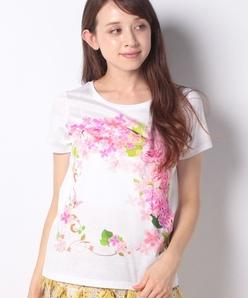 【洗える】フローラルパネルプリント コットン天竺Tシャツ