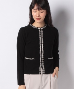 【アンサンブル対応】カシミヤ混ビーズ刺繍ニットカーディガン