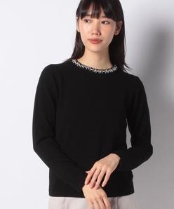 【アンサンブル対応】カシミヤ混ビーズ刺繍ニットプルオーバー