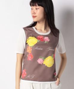 【アンサンブル対応】【ARINA】フラワープリント 布帛使いニットプルオーバー
