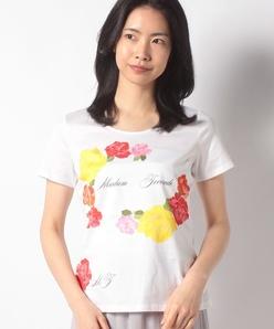 【洗える】フラワーパネルプリント コットン天竺 Tシャツ