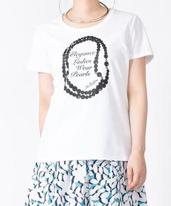 【洗える】スーピマコットンポンチ フロントプリントTシャツ