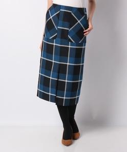 【洗える】ドライウールオックス チェックタイトスカート