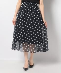 【洗える】【セットアップ対応】楊柳ドットプリントスカート