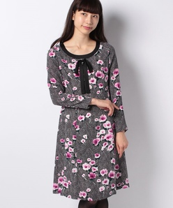 フラワーヘリンボンプリントドレス