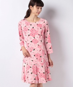 ローズサテンプリントドレス
