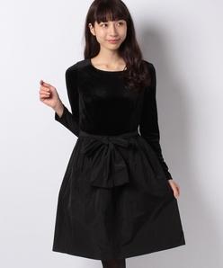 ベロア×タフタドッキングドレス