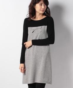 ウール リボンニットドレス