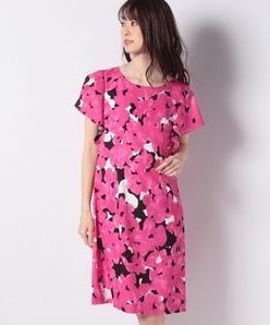 ジョーゼット フラワープリント ドレス
