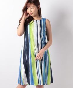 【洗える】ジョーゼット ストライププリント ドレス