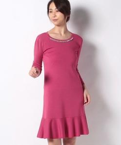 ハノン 襟ぐりビジュー ニットドレス