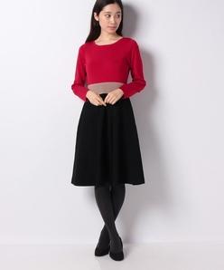 ハノン 3配色 ニットドレス