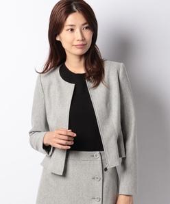 【セットアップ対応】ストレッチツィード 裾フレアージャケット