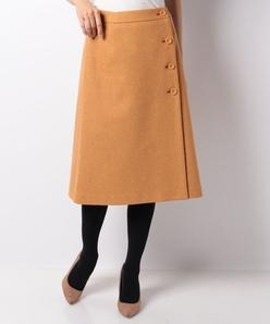 【セットアップ対応】ストレッチツィード ラップスカート