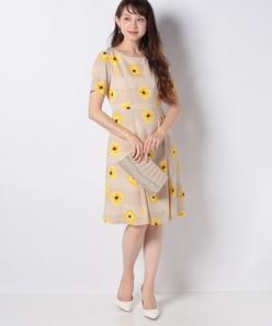 【洗える】フラワープリント ジョーゼットドレス