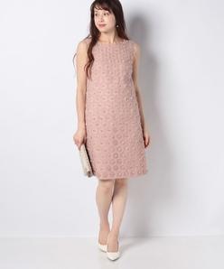 フラワーカットジャカードドレス