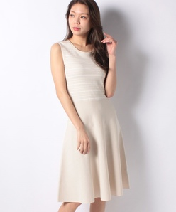 ハノン タックボーダーニットドレス