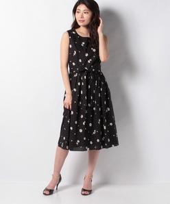 フラワーローン リボンベルト付きドレス