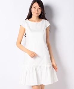 【洗える】シャンブレーデニム ギャザー切り替えドレス