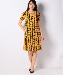 【洗える】フラワープリントジャージードレス