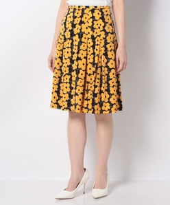 【洗える】フラワープリントジャージースカート