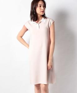 ハノン 配色襟付きニットドレス