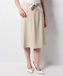【洗える】レクチュールギャバ ウエストリボンスカート