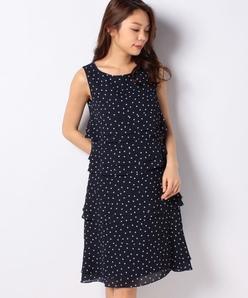 【洗える】ドットプリント ティアードドレス