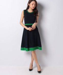 ハノン 配色ラインニットドレス