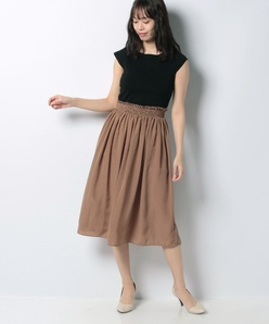 ハノン ニット×ドットプリントドレス