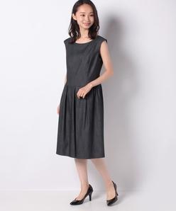【セットアップ対応】デニム調タックドレス